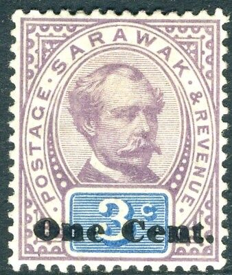 SARAWAK-1892 1c on 3c Purple & Blue.  A mounted mint example Sg 22