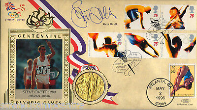 1996 Olympics - Benham Gold Medal Official - Signed by STEVE OVETT