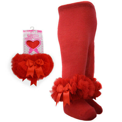 Baby Girls Frilly & Bows Red Cotton Rich Tights Romany Style by Soft Touch