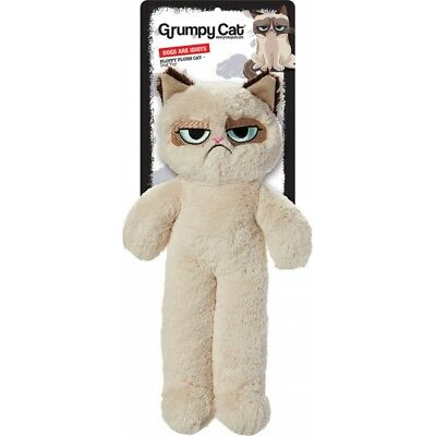 Grumpy cat floppy cat - squeaky plush dog toy