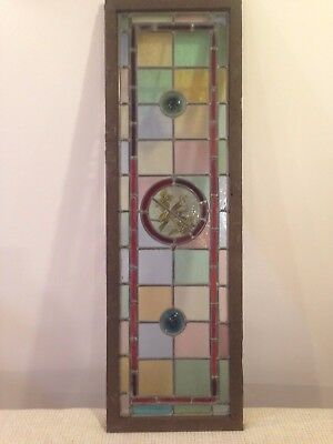 Antique Victorian Painted Bird Stained Glass Window.  37 h x 10.5