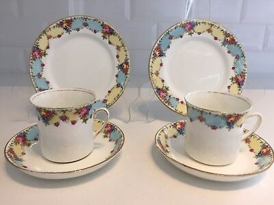 VINTAGE Bone China 2 TEACUP TRIOS Tea Set PASTEL DITSY DOT ROSE Osborne China