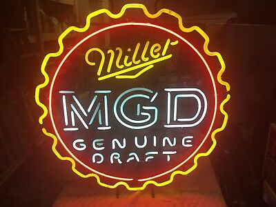 Miller Genuine Draft Beer Neon Sign Mgd Light Up Tavern Game Room Bar Pub