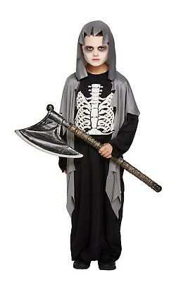 Kids Grave Digger Costume Boys Grim Reaper Child Fancy Dress Zombie Ghoul Outfit