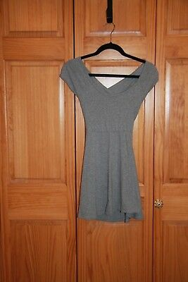 Ladies Gray Short-Sleeve Black Dress, Cross-Over Back, by Brandy Melville