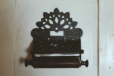 Cast Iron Toilet Roll Holder with Lid/Vintage/Rustic/Industrial/Retro/Ornate