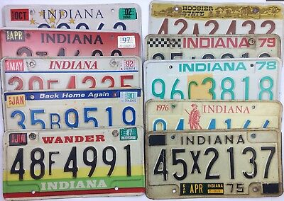 Collector Indiana Old License Plates Lot of 10 Craft Hoosier Car Tags Man Cave