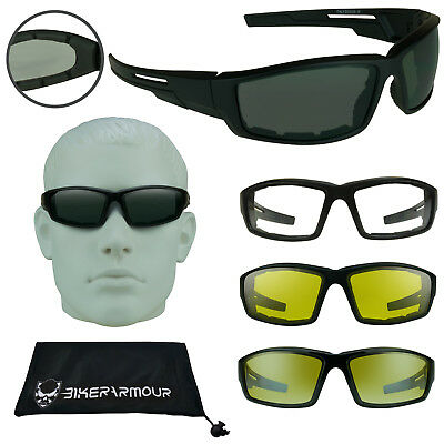 Motorcycle Sunglasses Biker Riding Goggles Foam Padded Wind Resistant Glasses