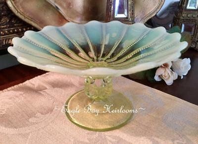Footed Compote NORTHWOOD - Beaded Panels- Yellow Vaseline Glass Opalescent