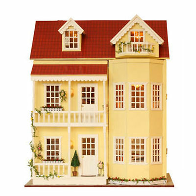 Kid DIY Wooden Handcraft Miniature Dolls House DIY Large & Furniture Accessorie