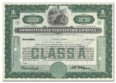 Associated Gas and Electric Company Stock Certificate