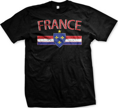France Distressed Country Flag - Soccer French Pride Mens T-shirt