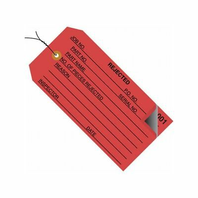 """Box Packaging Pre-Wired 2-Part """"Rejected"""" Inspection Tag, Red, 500/cs"""