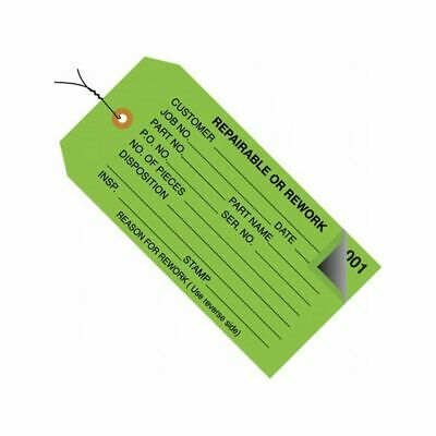 """Pre-Wired 2-Part """"Repairable or Rework"""" Inspection Tag, Green, 500/cs"""