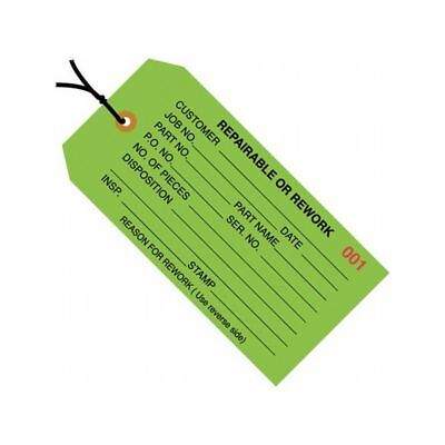 """Box Packaging Pre-Strung """"Repairableorrework"""" Inspection Tag,  Green, 1,000/cs"""