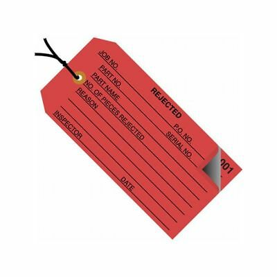 """Box Packaging Pre-Strung 2-Part """"Rejected"""" Inspection Tag, Red, 500/cs"""