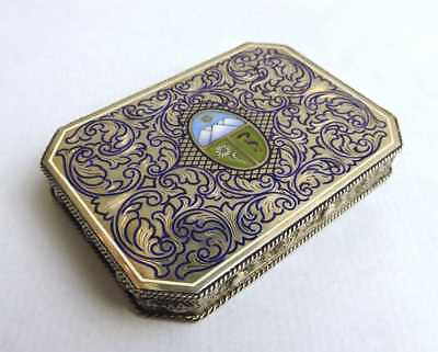 VIENNA .935 Gilt Silver & Guilloché ENAMEL CARD BOX with Coat of Arms.
