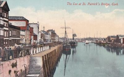 PC CORK ST PATRICKS BRIDGE RIVER LEE TALL SHIPS  IRELAND  c1910