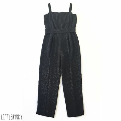 Vintage 1970s Black Satin Belted Jumpsuit - FREE SHIPPING AND RETURNS.