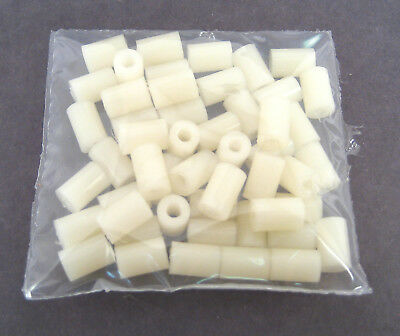 "Nylon Threaded Spacers/Standoffs, 6/32 x 3/8"" Long: 50/Lot: HH Smith 4054"