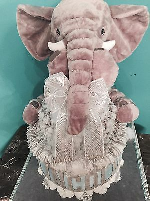 "Elephant Boy Diaper Cake Pom Pom Blanket 210 Diapers 24"" Elephant Pillow"