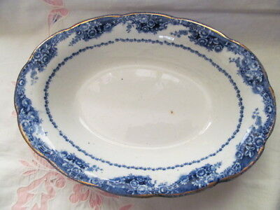 """Flow Blue Oval Open Serving Bowl """"wave"""" Made For T.eaton Co. /toronto - Vgc"""