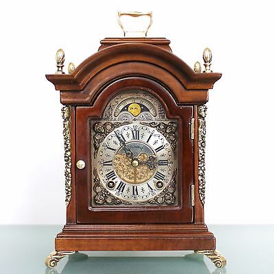 CLOCK Mantel WARMINK TOP!! Dutch Moonphase HIGH GLOSS DOUBLE Bell CHIME! Vintage