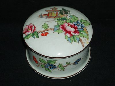 Pagoda by Crown Staffordshire SMALL ROUND TRINKET BOX & LID Vintage EXCELLENT