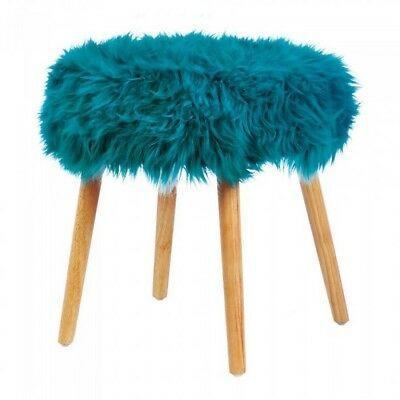 Round Wood Footstool Seat with Faux Fur Top Turquoise Gray White Choice NIB