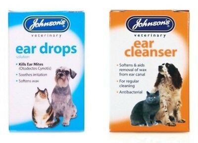 Johnson's Ear Drops AND Cleanser for Cats & Dogs Kills Ear Mites Softens wax pet