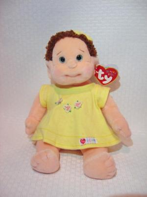 """NEW ~ Ty CURLY BEANIE KIDS 10"""" Plush Girl Doll Yellow Dress 1999 New + Tags"""