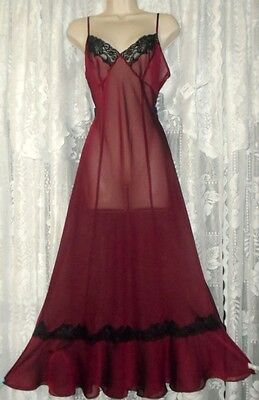 Vtg Design SEXY Frederick's of Hollywood Sheer Merlot Wine Nightgown Gown NWT L