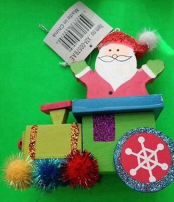 Colorful Wooden Train Carrying Santa Christmas Tree Ornament Nwt!
