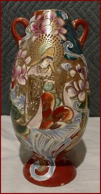 Antique Large Japanese Satsuma Immortal Goddess Gold Moriage Floral Lotus Vase