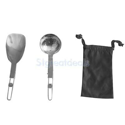 304 Stainless Steel Folding Soup Rice Spoon Set Outdoor Camping Tableware