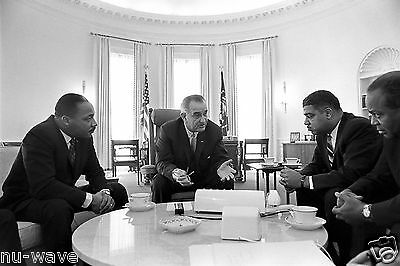 Lyndon Johnson meets Martin Luther King Jr.-Whitney Young and James Farmer-1964