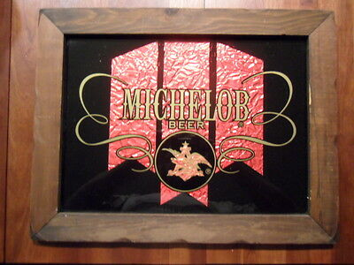 Michelob Beer Sign Mirror Bar Advertising Vintage Anheuser-Busch Brewery