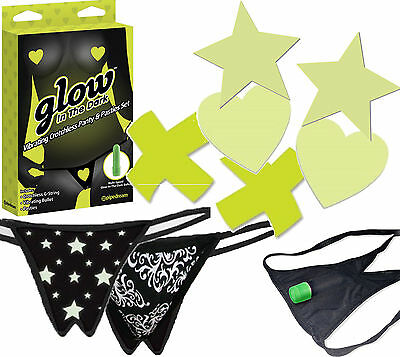 Crotchless Glow-in-Dark Thong G-String Panty Nipple Pasties Breast Cover 3pc Set