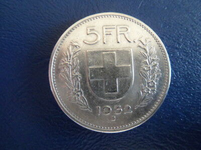 1932 Swiss Silver 5 Franc Coin-VG Condition-#17-336
