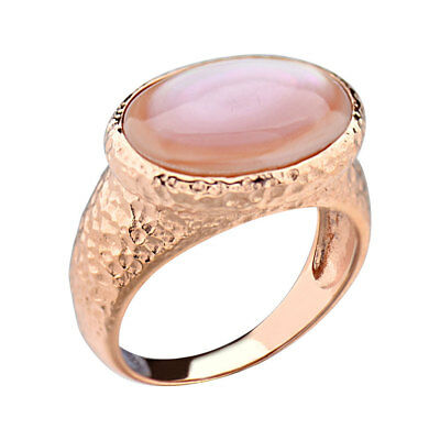 Rose Gold Plated Silver Pink Mother of Pearl Women's Jewelry Engagement Ring