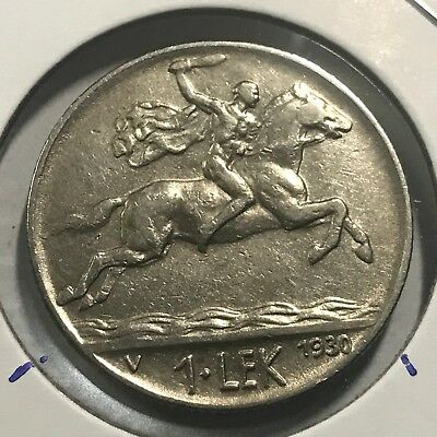 Albania 1930 One Lek Alexander The Great Higher Grade  Coin