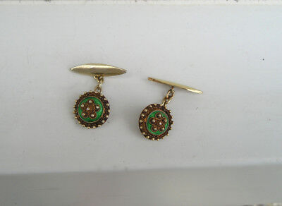 Unique Antique Cannetille Green Enamel Gold Cufflinks