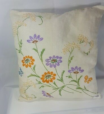 Embroidery Throw Pillow Floral Flowers Hand sewn