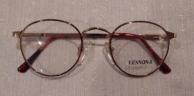 Vintage Lennon-5 by Conti Tort/Gold 47/22 P3 Round Metal Eyeglass Frame NOS #202