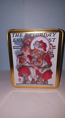 Vintage Norman Rockwell Hinged Christmas Card Tin; Curtis Publishing; 1994