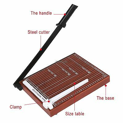 """18"""" Paper Cutter A4 To B7 Wood Base Guillotine Page Trimmer Blade Scrap Booking"""