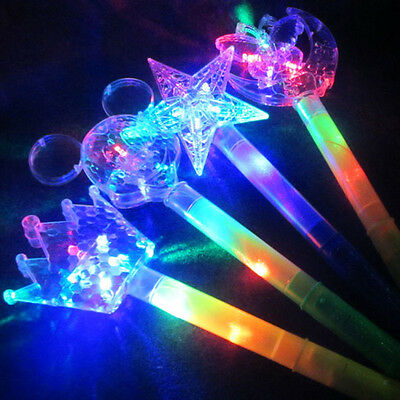 LED Light Flash Fairy Magic Wand Princess Moon Star Stick Girl Xmas Gift Cute