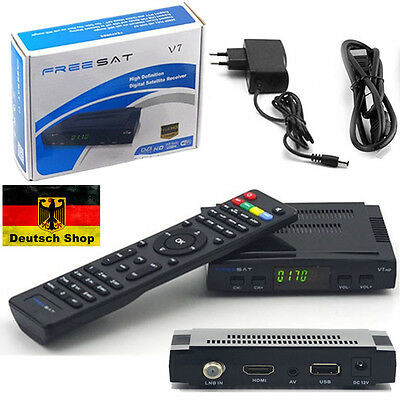 FULL HDTV HD Digital Sat Receiver + HDMI Kabel Freesat V7 DVB-S2 USB Scart EU GF
