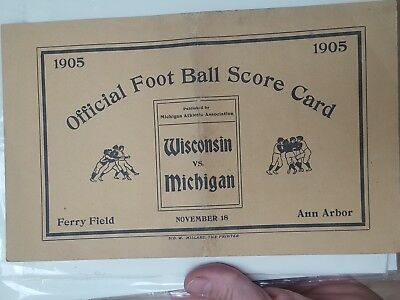 Vintage rare 1905 Michigan Wolverines football program  Wisconsin Bagers Ferry