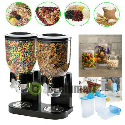 Double Cereal Dispenser Dry Food Storage Container Dispenser Machine 2 Colours